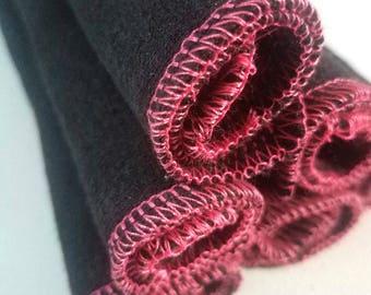 "12 Hemp wash cloths reusable wipes organic washcloth sensitive skin 8"" black"