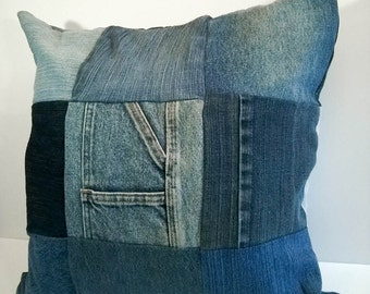 Upcycled Denim Throw Pillow Cover - Jean Patchwork - Lined Cushion Cover with Zip Closure - Patchwork Pillow - Decorative Pillow