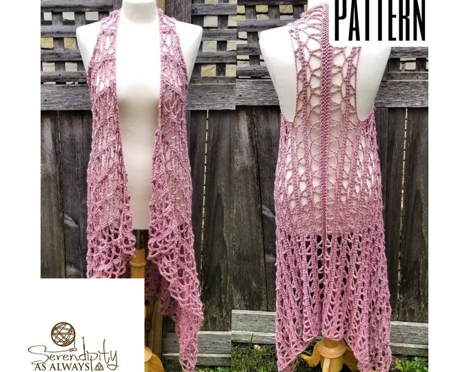 Featured listing image: Crochet PATTERN | Summer Vest Crochet Pattern | Swimsuit Coverup Crochet Pattern | Daydreamer Duster Pattern | PDF Digital Download