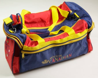 "90s Era Vintage Molson Canadian ""What Beer's All About"" Duffle/Carry On/Gym/Overnight Bag with Handles and over the Shoulder Strap"