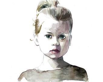 Watercolour Portrait, Custom Portrait Painting, Custom Watercolour Illustration, Child Portrait, Baby Portrait, Mother's Day Portrait Gift