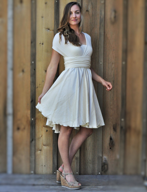 Seide Infinity MIDI-Kleid handgemachte Cabrio Kleid in weiß