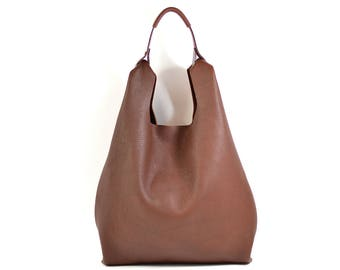 Bonnie - Handmade Chestnut Brown Leather Shopper Carrier Bag SS18