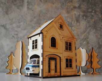 American Countryhouse wooden house template for laser cut / nightlight / building kit