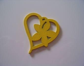 Yellow wood heart charm