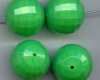 6 Vintage Peridot Green Acrylic 21mm. Round Disco Ball Faceted Beads 2204