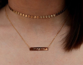 Disc CHOKER Necklace, Tattoo Choker, Disc layeri Necklace  Sterling Silver or 14K Gold Filled, Minimal Disc Choker Necklace,