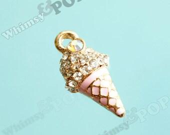1 - Pink Ice Cream Cone Enamel Crystal Kawaii Foodie Charm, Ice Cream Cone Charm, 19mm x 11mm (5-5J)
