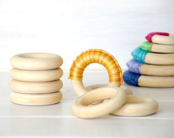 "10 Wood Rings - Small Wooden Rings - 2-1/4"" Wood Rings (55MM) - Natural Wood - DIY Teethers - Toss Rings - DIY Wood Crafts - Wooden Rings"