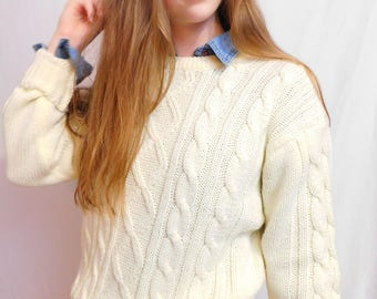 Vintage Acrylic Cable Knit Pullover Fisherman Sweater