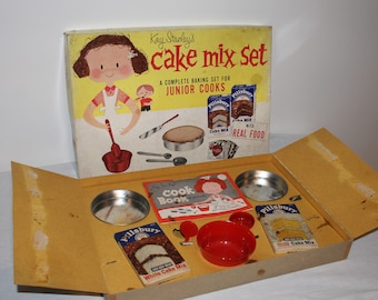 Child's Bake Set, Kay Stanley's Cake Mix Set, Retro, Vintage, Collectible, Pretend, Original Boxes, Empty Containers, Gift for Child, Mother