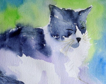 Water color greeting card (1) - view of black and white kitty cat