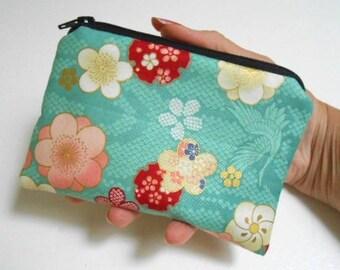 Small Zipper Coin Purse Zipper Pouch Little Padded Coin Purse ECO Friendly Teal Blossom Cranes
