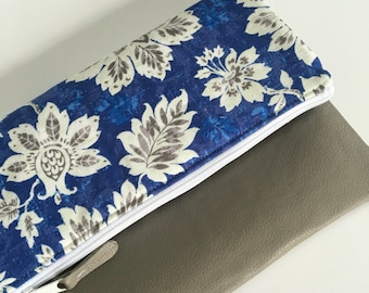 Grey and Blue Floral Fold Over Clutch, Clutch Purse, Vinyl Fold Over Clutch