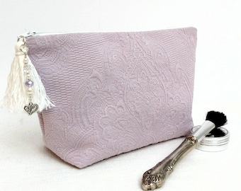 Lilac makeup bag, toiletry bag women, Paisley toiletry case, accessory pouch, cosmetic bridesmaid gifts, Mother's Day gift, gift for her,