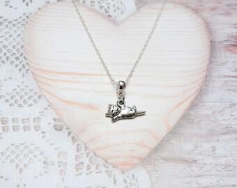 Necklace chain charm pendant animal cat
