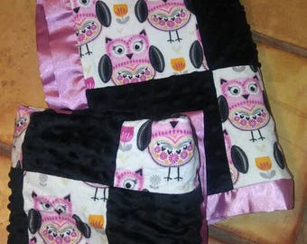 Owl baby blanket set! Ready to ship!
