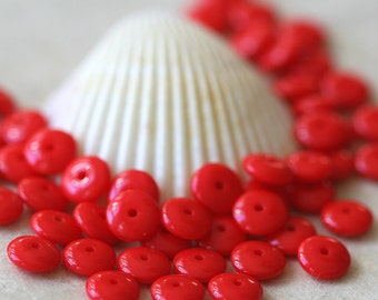 6mm Rondelle -  Czech Glass Bead - Jewelry Making Supply - Opaque Red Rondelle Beads - 50 bead Strand