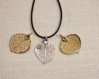 SALE Leaf Necklace, Silver Aspen Leaf, Silver Leaf, Real Leaf Necklace, Gold Leaf, Aspen Leaf, Boho Necklace, Silver Leaf Pendant, SALE336