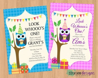 Look Who's One Owl Birthday Invitation Printable