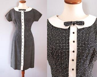 50s black dress -  vintage mid century geometric dot print sheath cotton button down white peter pan collar bow tie retro pinup wiggle fit