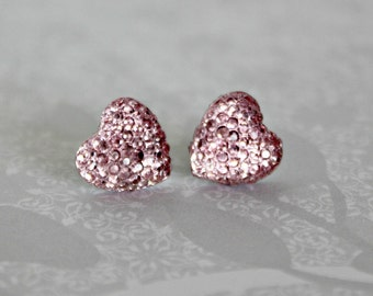 CLEARANCE- Heart Earrings, Light Pink Sparkle Pave Rhinestone Hearts on Hypoallergenic Titanium Posts, Not Quite Perfect