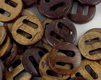 Coconut Wooden Button - 15mm - Large Hole - Wood Buttons - Coconut Wood