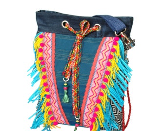 Bohemian crossbody bag with fringes, summer purse Ibiza style, shoulder bag OOAK handmade, woman gift handbags, Aztec bag Indian colored