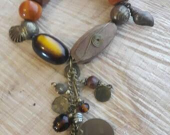 Wooden mixed charm bracelet