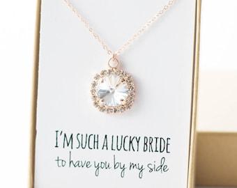 Swarovski Rose Gold Necklace - Rose Gold Swarovski Halo Necklace - You Pick the Color - Bridesmaid Jewelry - Swarovski Crystal Necklace