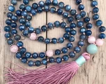 Kyanite Mala Necklace/Mala Bead Necklace/Kunzite Mala/Hand-knotted Mala/108 Mala Beads/Silk Tassel/Throat Chakra Mala/Meditation Beads