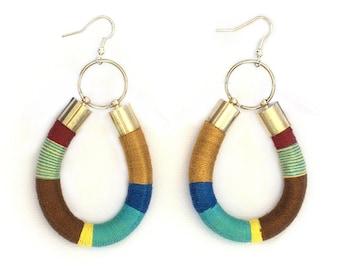 Statement Earrings, Rope Statement Earrings, Tribal Earrings, Color Block Earrings, African inspired Earrings