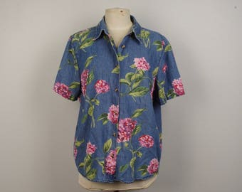 Boxy Denim Floral Shirt XL Blue Pink Green Button up Oxford Cotton Novelty Print Short Sleeve blouse Top