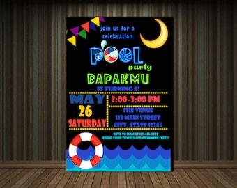 POOL PARTY INVITATION - Personalized Invitation - Custom Birthday - Printables Invitation - Digital file Download
