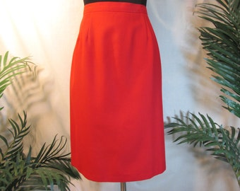 vintage U.S.A. skirt ,red knee length ,size 16 winter skirt,womens clothing,Briggs New York,new condition, washable,ladies pencil skirt