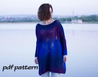 KNITTING PATTERN Plus size sweater Wool sweater Women knit tunic Sweater wool Plus Size Clothing plus size wear Easy knit Easy PATTERN