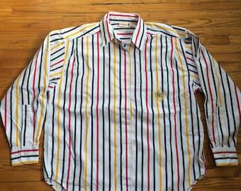 Vintage Huntington Ridge Button Up Heavyweight Striped Pocket Dress Shirt