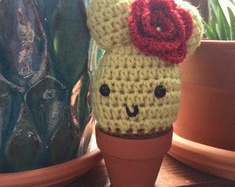 Crocheted cactus with flower