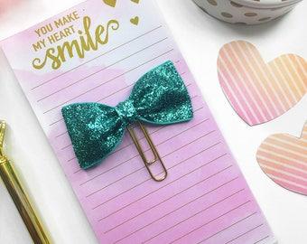 Aqua Glitter Planner Clip / Planner Bow Clip / Aqua Glitter Bow Paper Clip