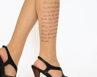 Poetry Tattoo Tights,Tights With Text(Poem), Literature Printed Tights