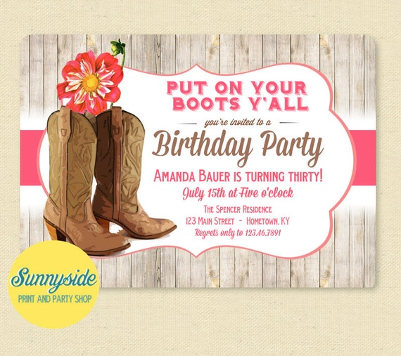 Western Boots Birthday Party Invitation with Pink Dahlia