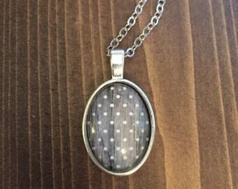 Grey White Polka Dot Necklace Antique Silver