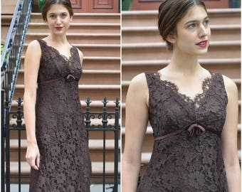 1960s Jonathan Logan Chocolate Lace dress    vintage 1960s dress   chocolate brown 60s lace dress