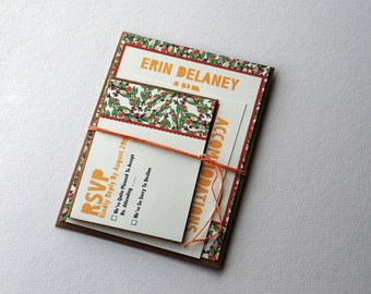 The Erin Collection - Vintage Inspired Rustic Floral Wedding Invitation Set in Orange, Green and Gold with Kraft or Cream Envelopes - SAMPLE