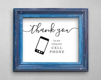 No Cell Phone Sign - Printable No Cellphone Use Sign - Mobile Phone - Business, Wedding, Home - DIY Instant Download Digital File PDF 8x10