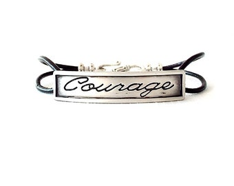 Round Leather Bracelet - Affirmation Word - Silver, Black - The Basics: 2mm Double Strand Courage