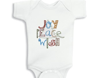 Joy Peace Wish Christmas baby bodysuit or infant T-Shirt