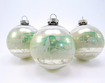 Shiny Brite Stenciled Christmas Ornaments Vintage Glass Christmas Decorations Baubles 1950s