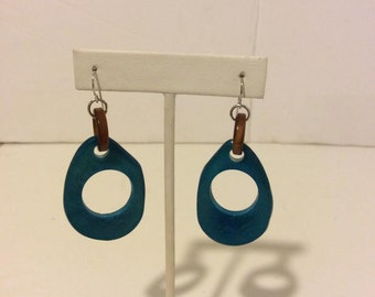 Gorgeous blue and brown tagua seed drop earrings