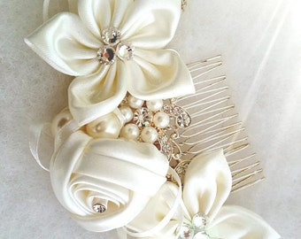 Ivory Flower Girl, Bridesmaid flower Crystals and Pearls Wedding Hair Accessory. Sweet 16 Customize your color